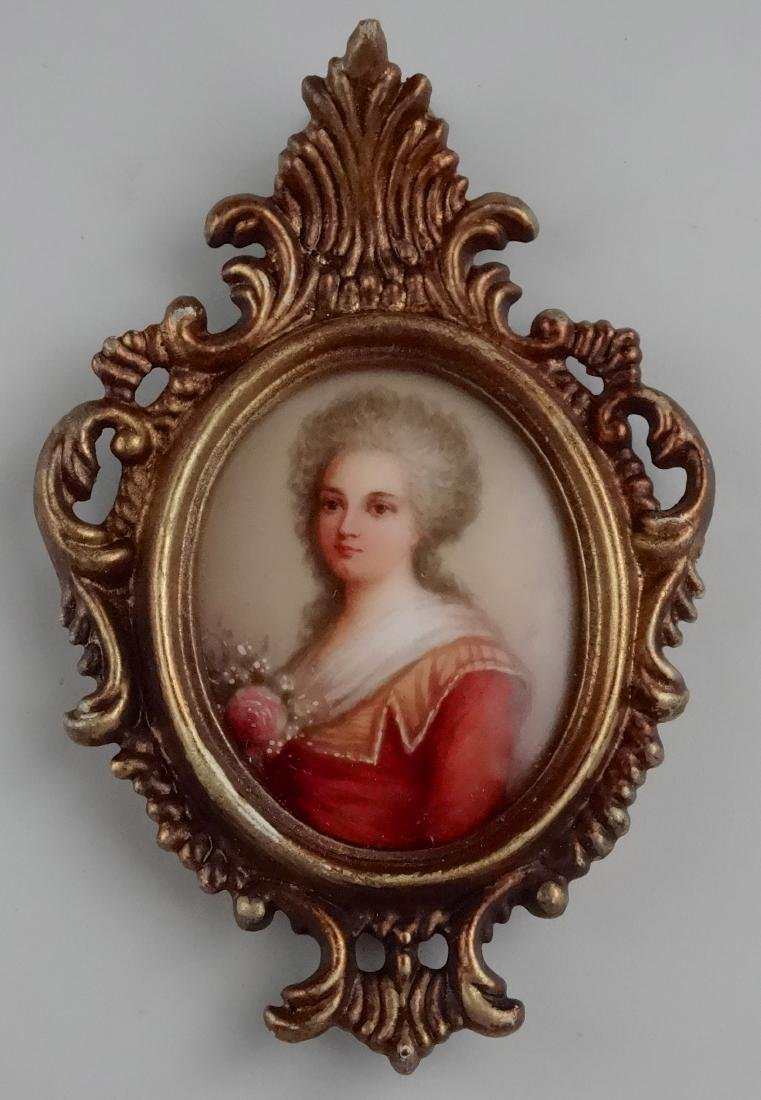 Antique French Miniature Painting on Porcelain Plaque