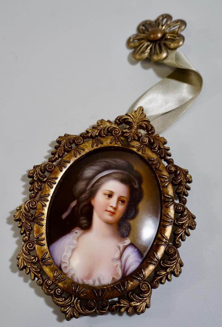 Painted Porcelain Miniature Beauty Portrait Plaque