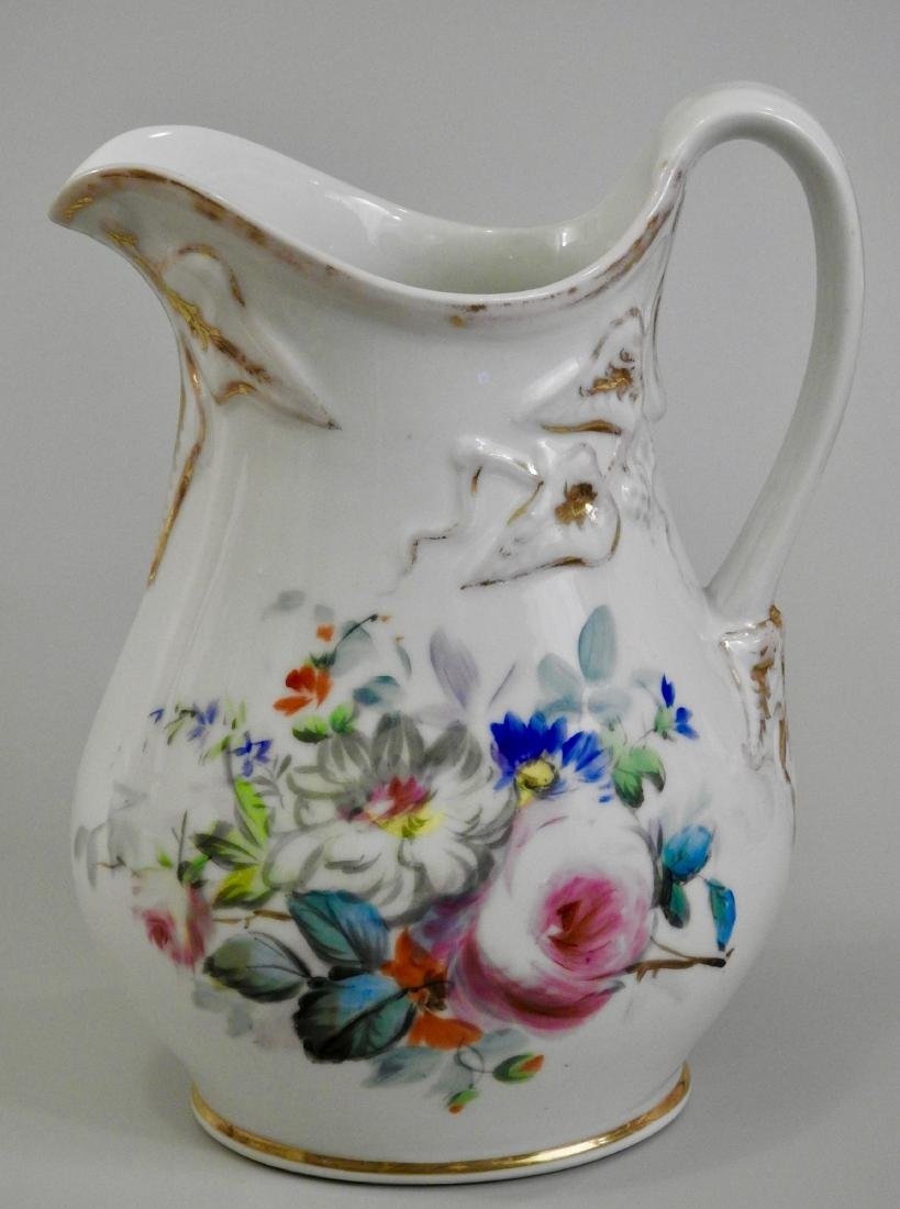 Antique Old Paris Porcelain Painted Pitcher Jug