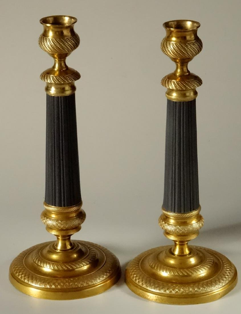 Old French Empire Brass Candlesticks Restored