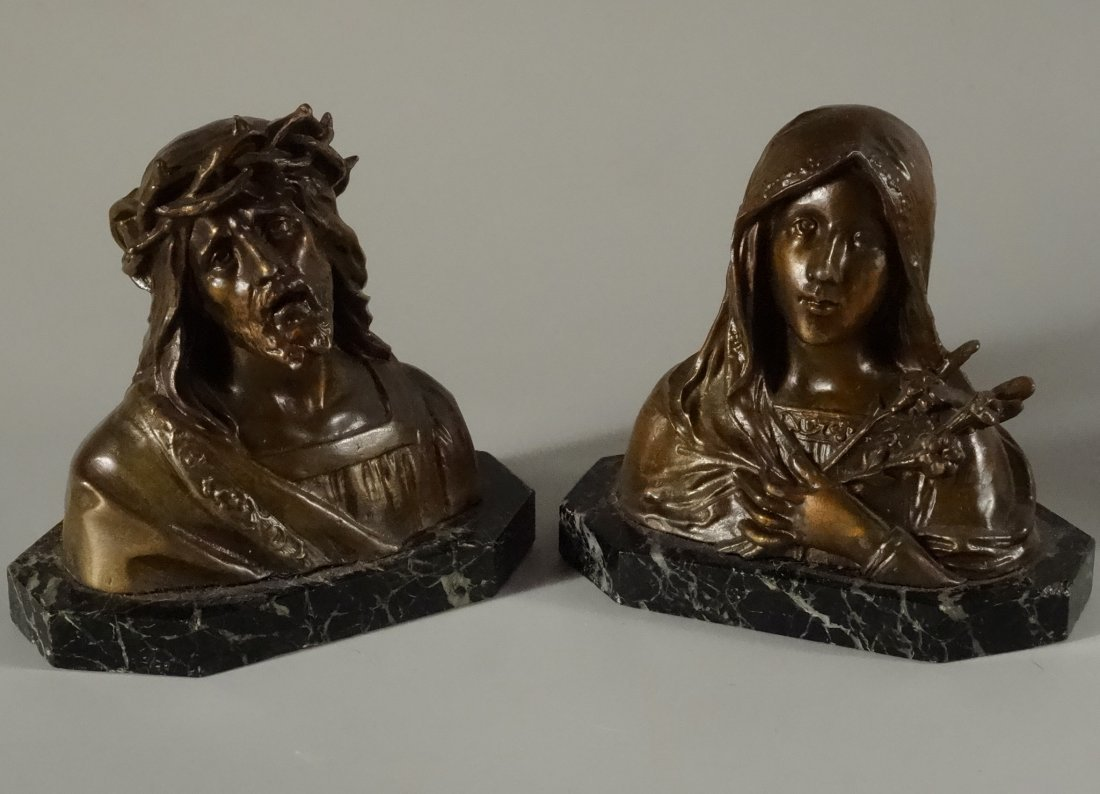French Paris Cast Spelter Jesus Mary Bust On Marble