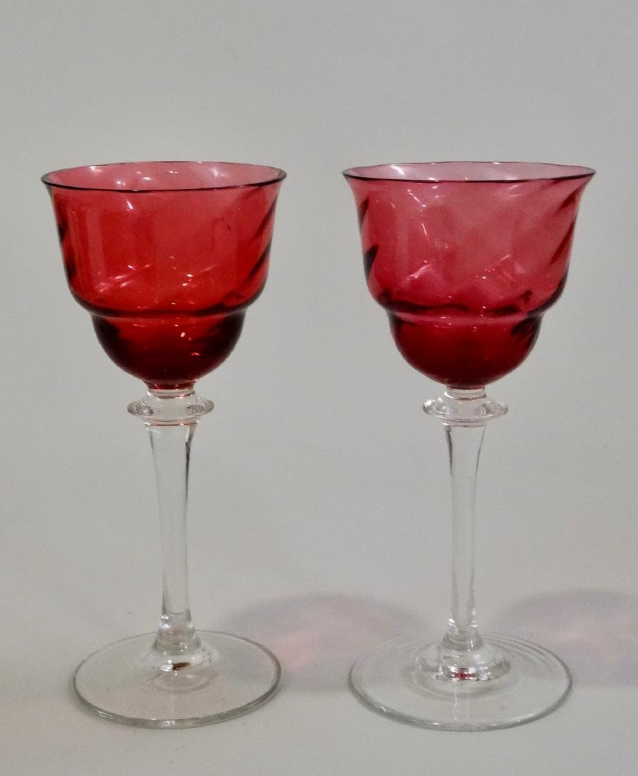 Twisted Cranberry Glass Cordials Pair Art Glass