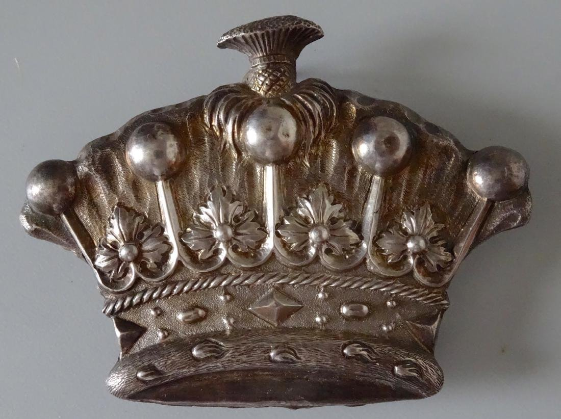 Antique Hand Chiseled Coronet Military Silver Insignia