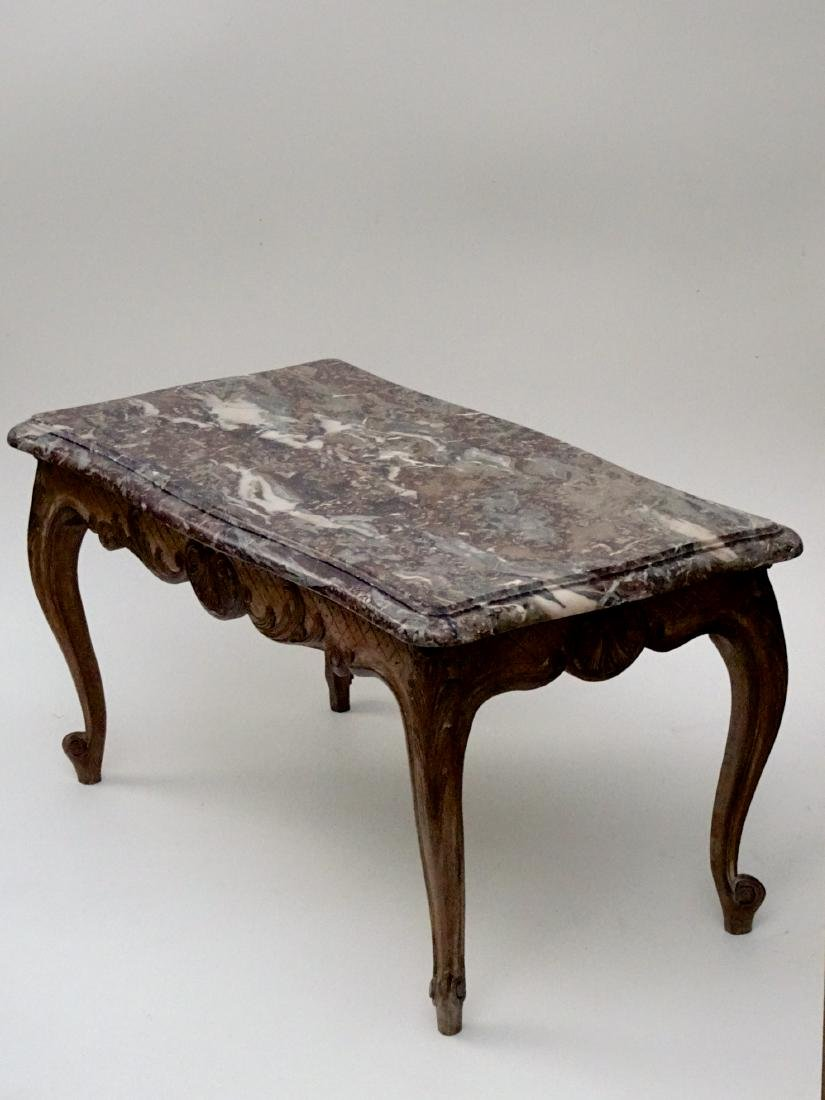 Louis XV Thick Marble Top Coffee Table Parcel Gilded