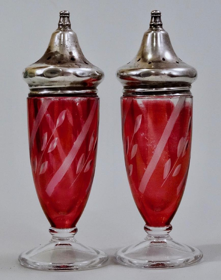 Cranberry Cut to Clear Glass Sterling Silver Cup Salt