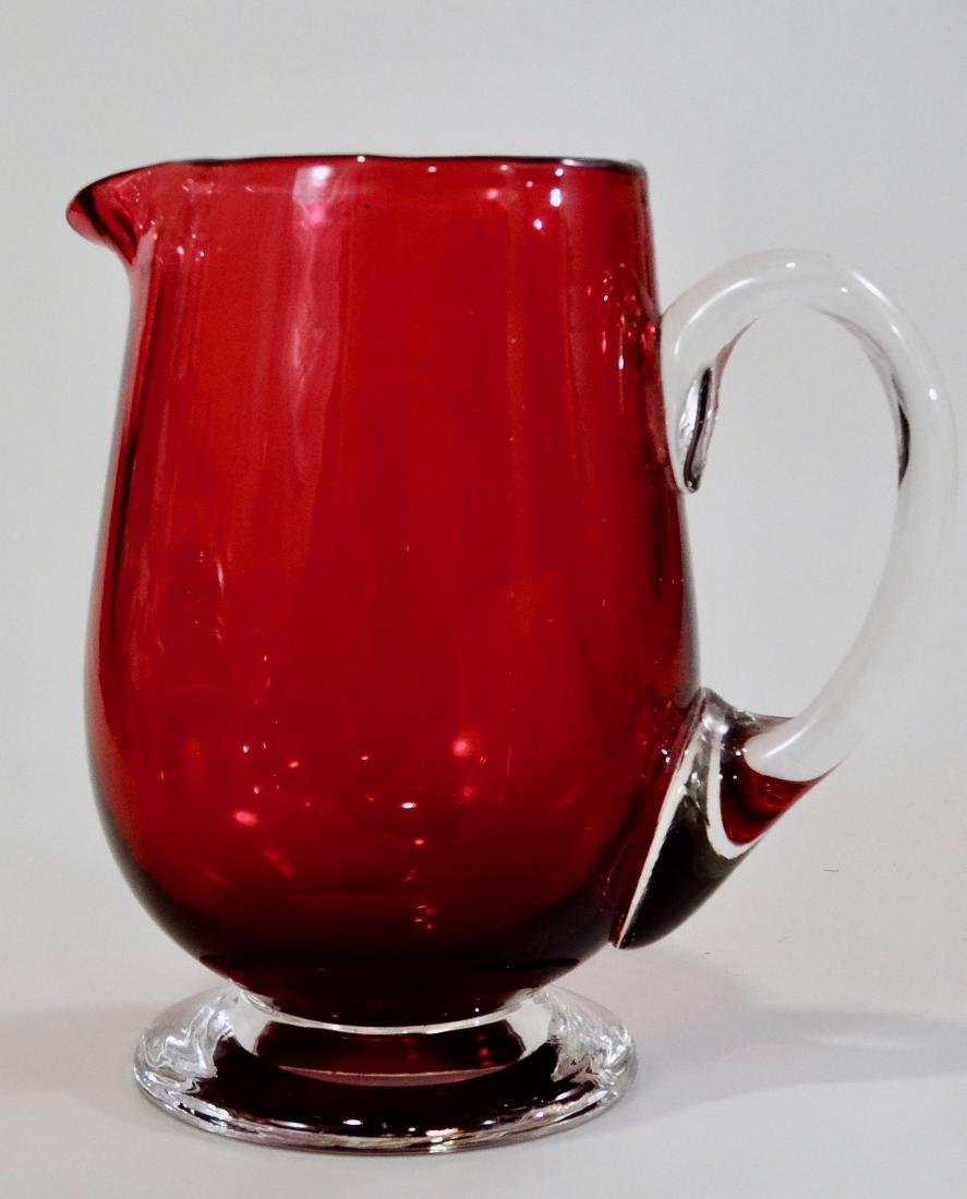Vintage Footed Cranberry Studio Art Glass Cream Pitcher