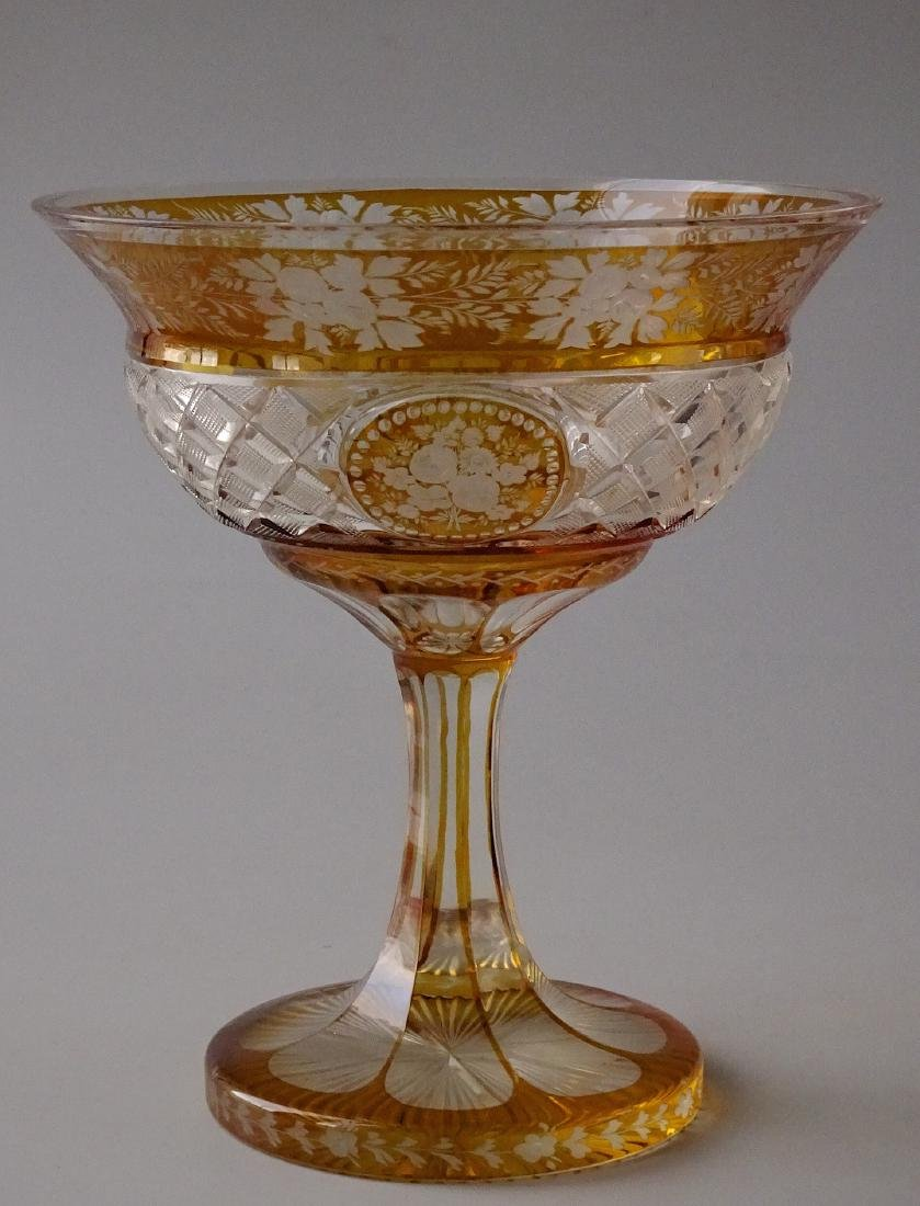 Antique Bohemian Amber Cut to Clear Art Glass Compote