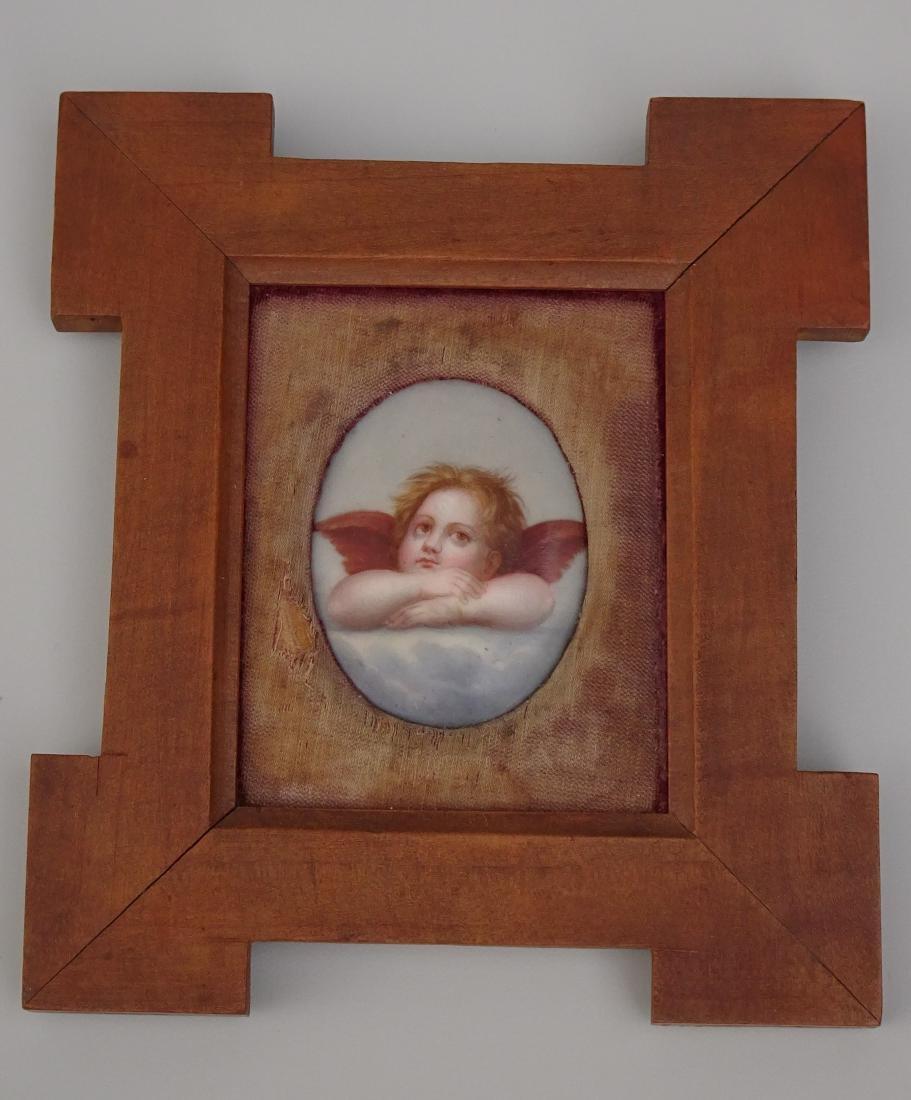 Cherubim Oval Porcelain Painted Cupid Miniature Plaque