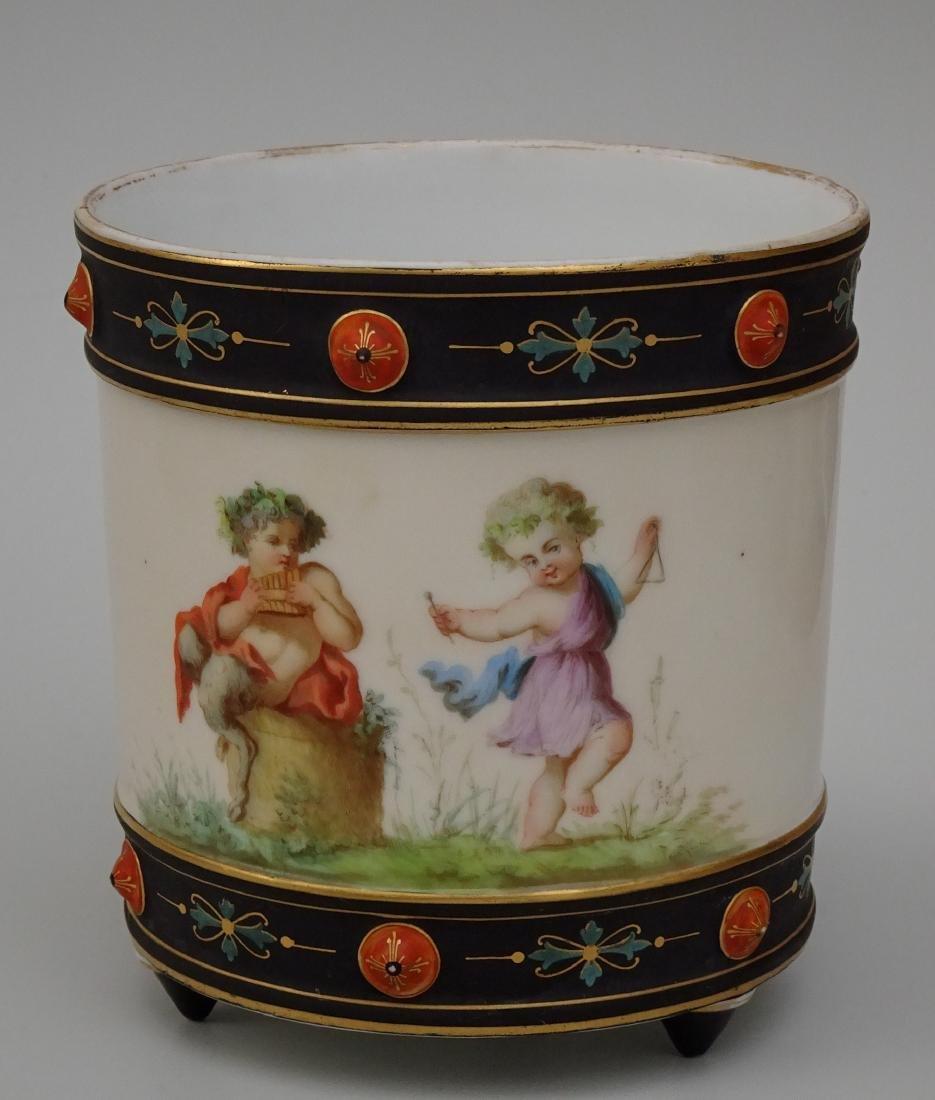 Old Paris Porcelain Neoclassical Cachepot Faun Satyr