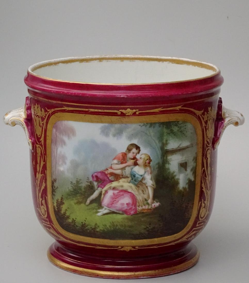 Large Antique French Sevres Style Cachepot Hand Painted