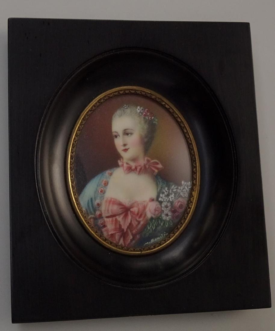 Madame Pompadour Antique Hand Painted Framed Miniature