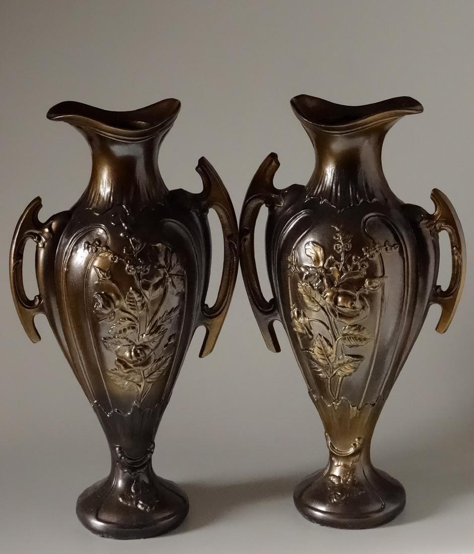 Art Nouveau French Mantel Vases Antique Bronzed Spelter