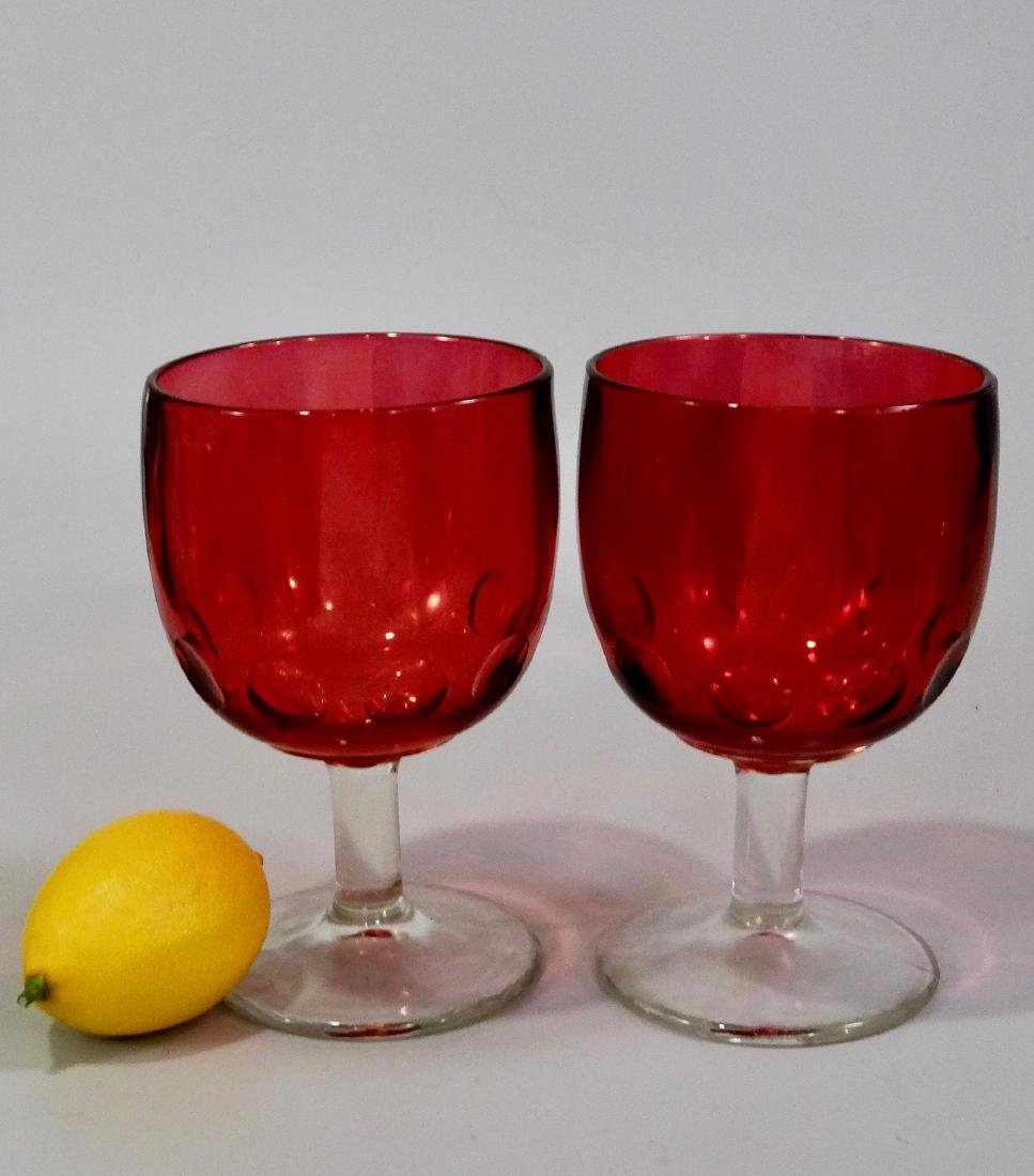 Vintage Dotted Thumbprint Flashed Ruby Large Goblets