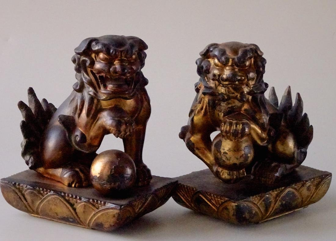 Antique Chinese Lions Carved Wood Foo Dogs Gesso Gilded