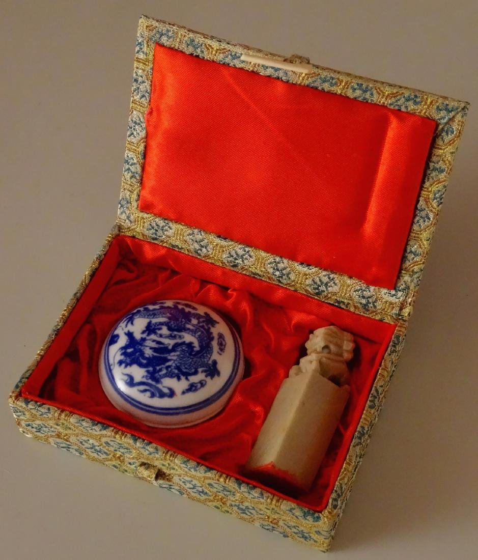 Chinese Carved Stone Wax Seal in Silk Box