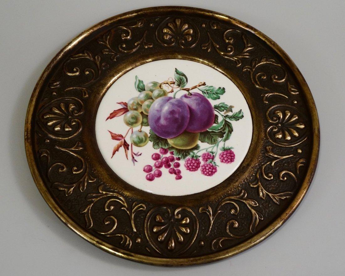 Porcelain Fruit Roundel Brass Framed Wall Plaque