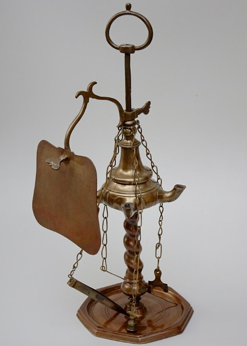 Patinated Brass Whale Oil Lamp with Screen and Tools