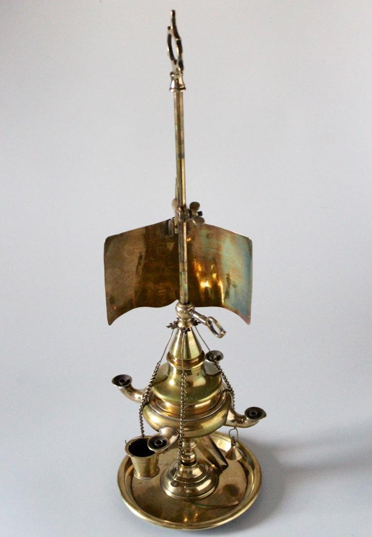 Antique Whale Oil Brass Lamp with Screen and Tools