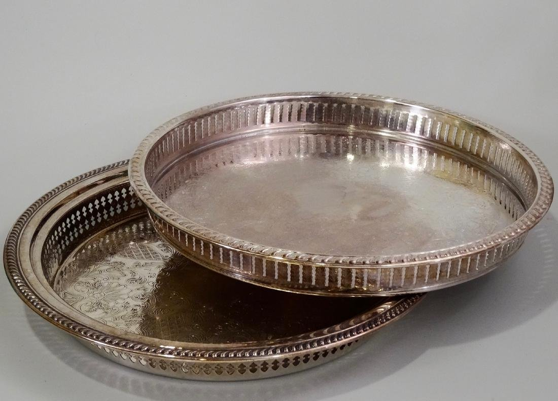 Silver Plated Gallery Tray Lot of 2