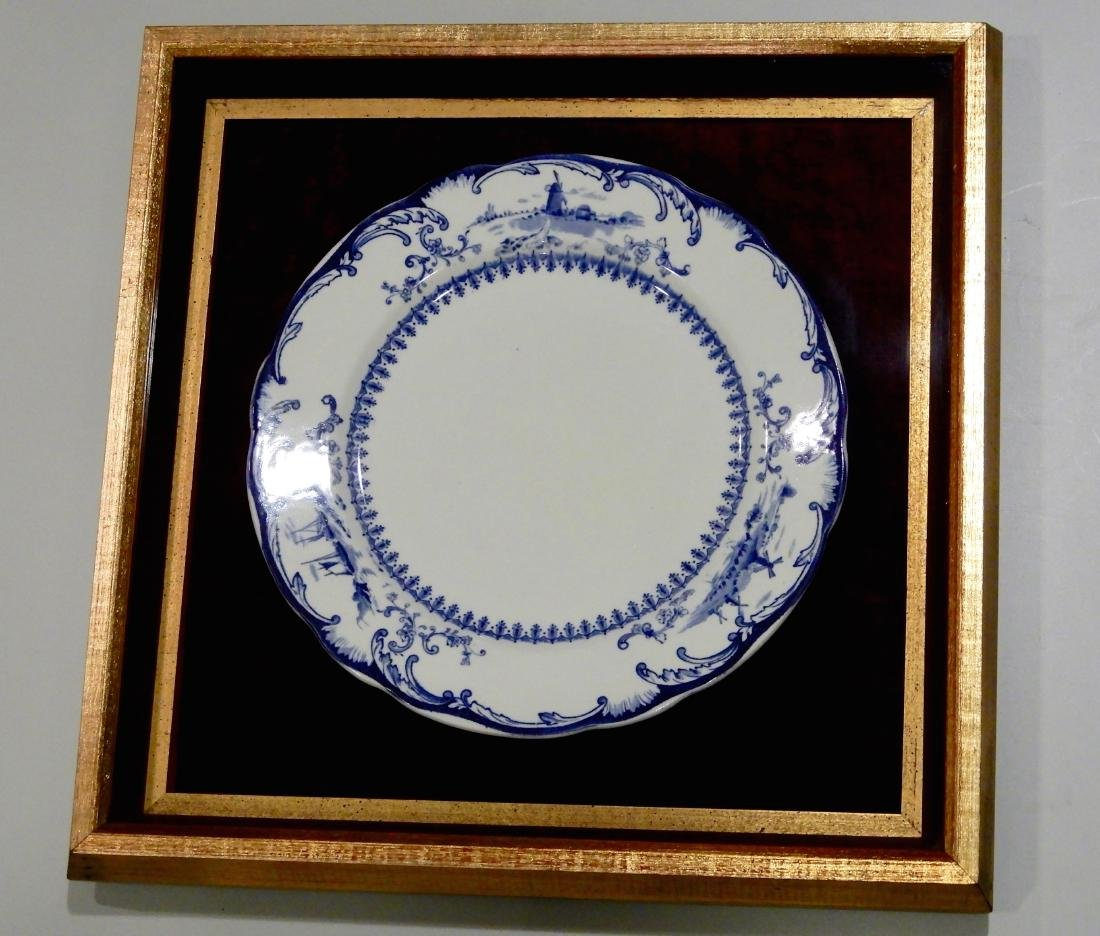 White and Blue Windmill Painted Porcelain Cabinet Plate