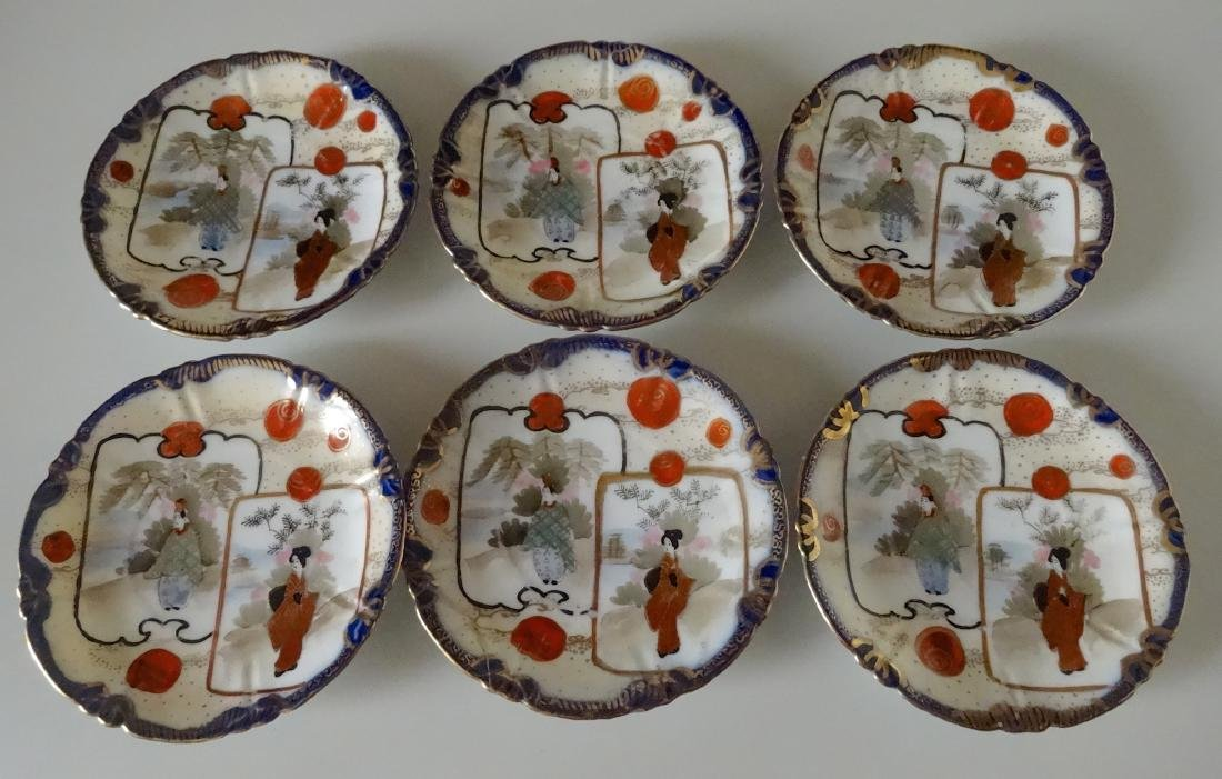Vintage Japanese Porcelain Hand Painted Butter Pats Lot