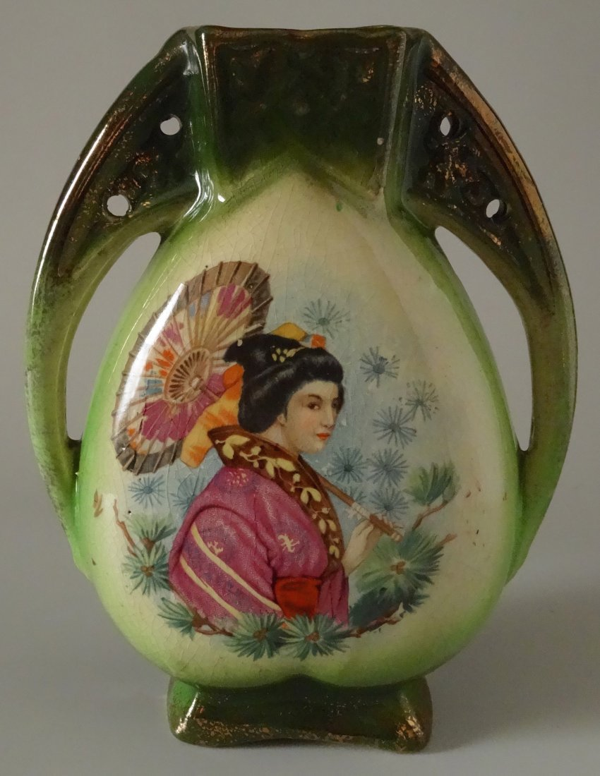 Antique c.1900 Orientalisme Art Nouveau Vase Geisha