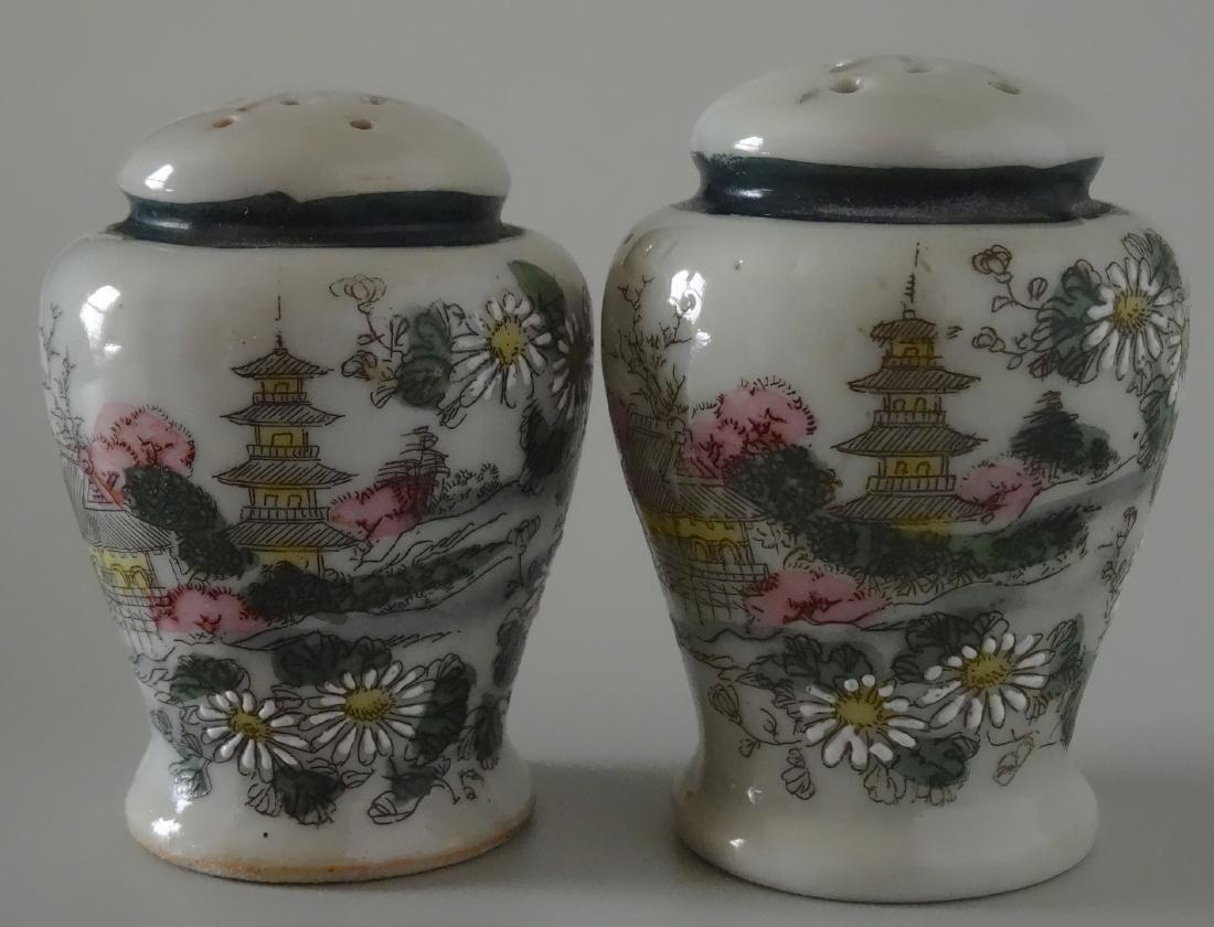 Vintage Moriage Porcelain Salt Pepper Shakers Japan