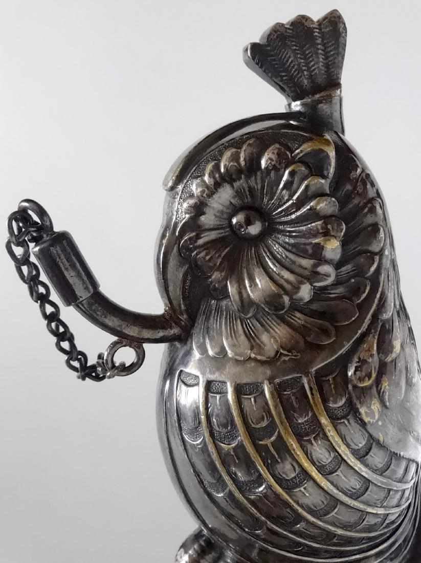 Owl Figural Cigar Lighter Silver Plate Rare Oil Lamp