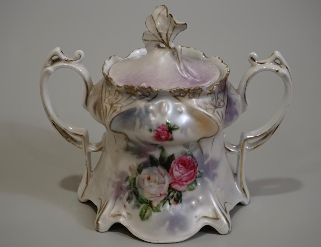 RS Prussia Iridescent Pearlware Jugendstil Sugar Bowl