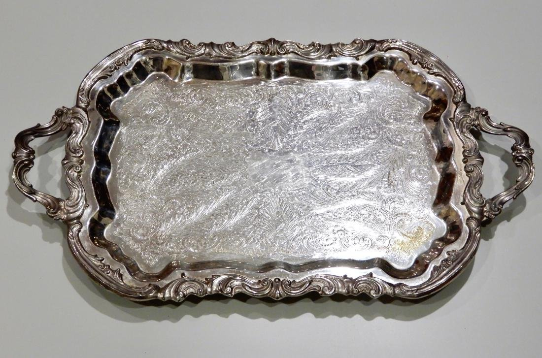 Ornate Footed Silver Plate Serving Tray with Baroque Ha