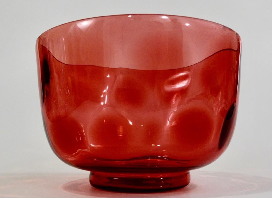 Cranberry Art Glass Thumbprint Coin Dot Bowl