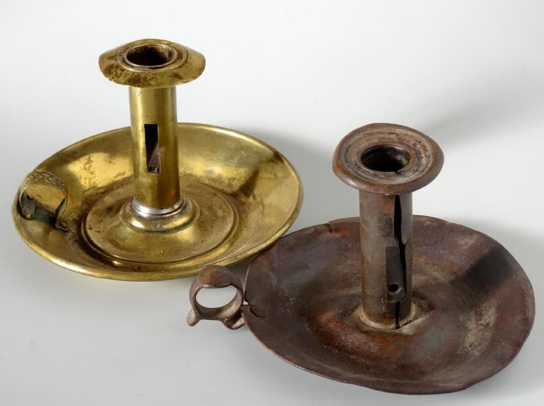 Antique Push Up Chambersticks Hogscraper Candle Holders