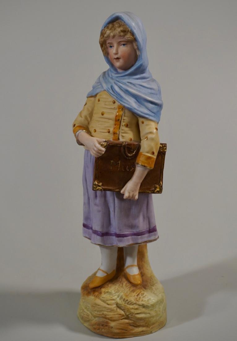 Antique German Musical Maiden Bisque Porcelain Figurine