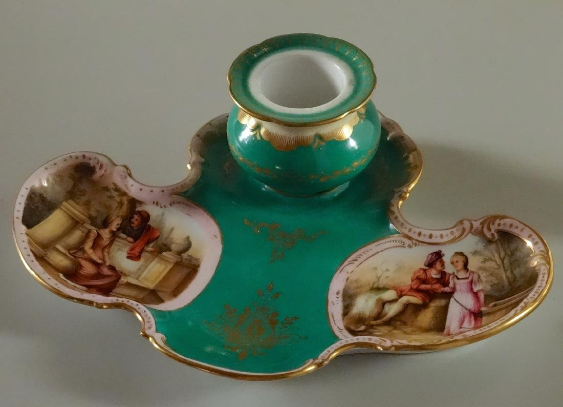 Old Vienna Hand Painted Porcelain Inkwell