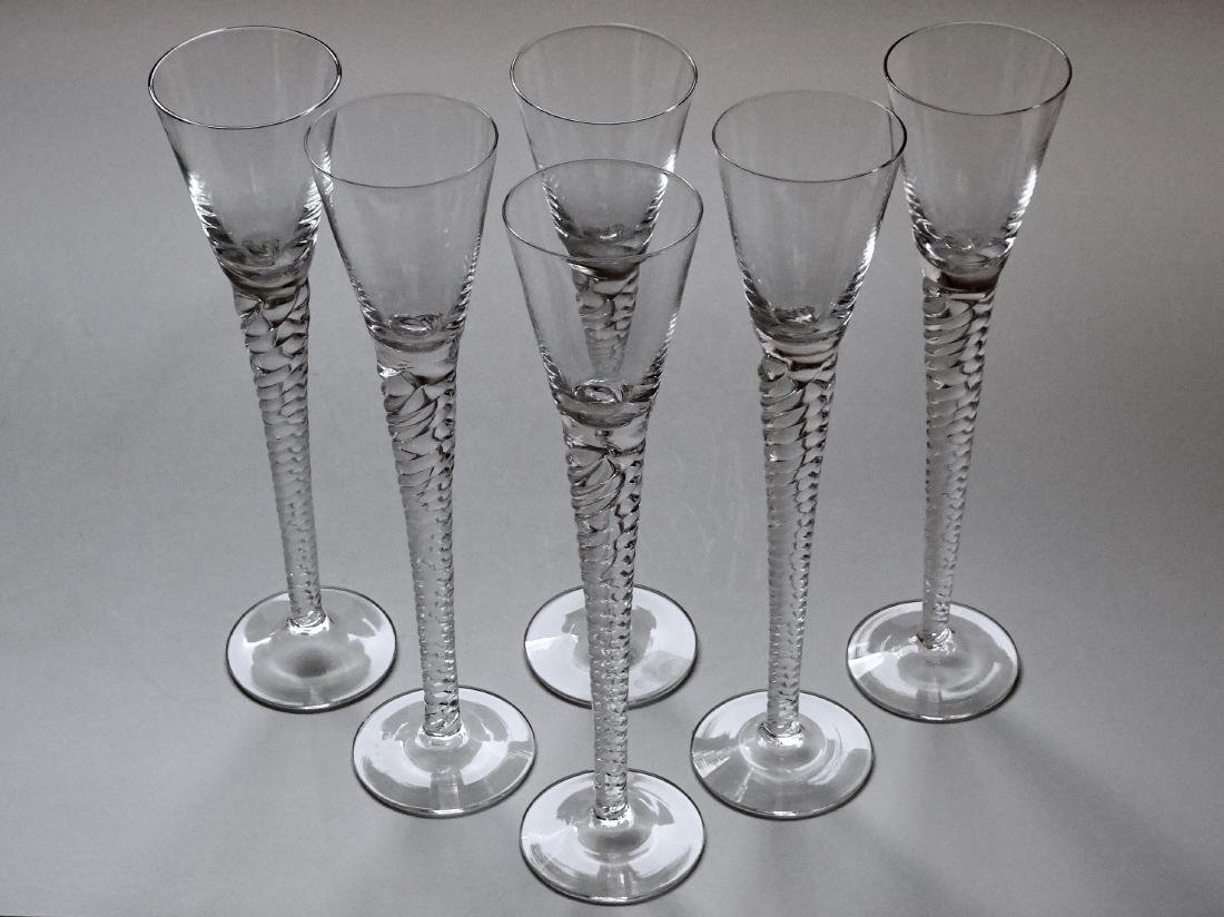 Long Stem Twisted Clear Glass Cordial Glasses Lot of 6