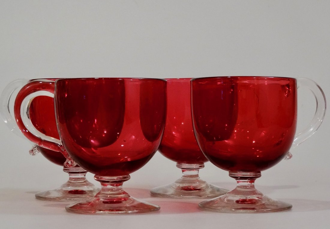 Victorian Cranberry Punch Glass Footed Custard Cup