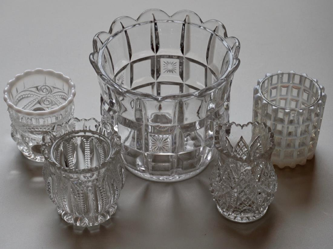 Lot of 5 Pressed Glass Spooner Bowl Mosser Toothpick