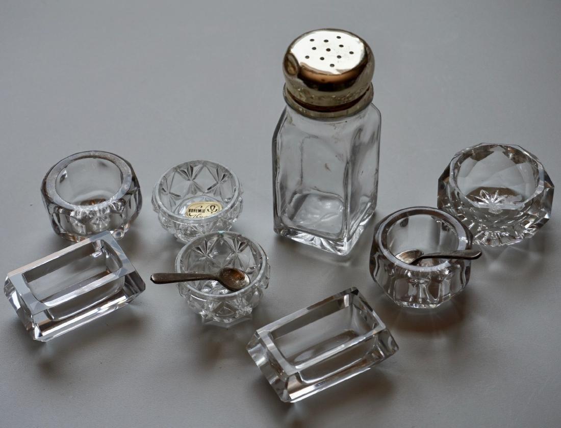 Lot of Crystal Salt Cellars Bowls Glass Shaker and 2