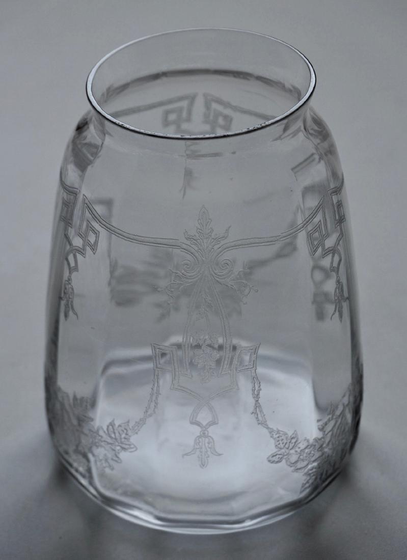 Vintage Etched Glass Art Deco Vase