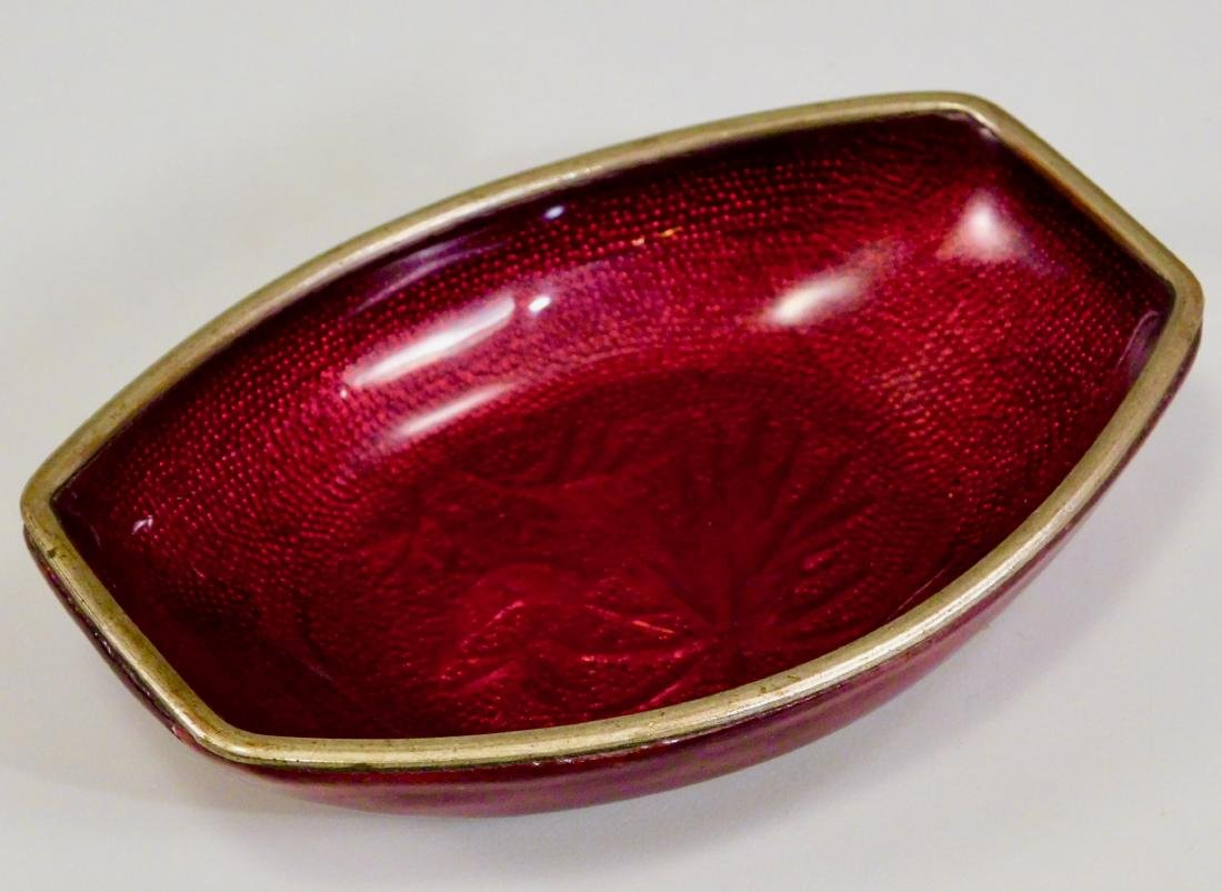 Pigeon Blood Vitreous Red Enamel Japan Bamboo Tray