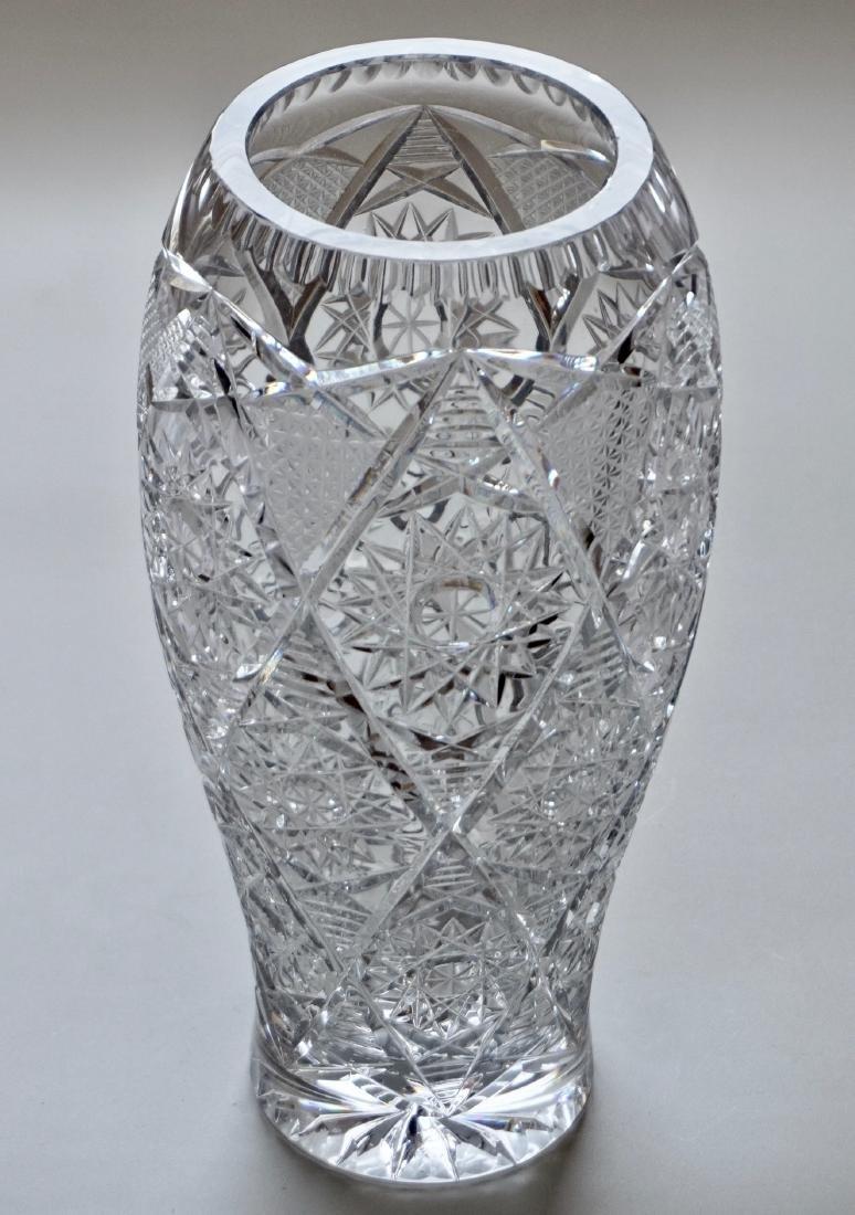 Large Finely Cut Crystal Flower Vase