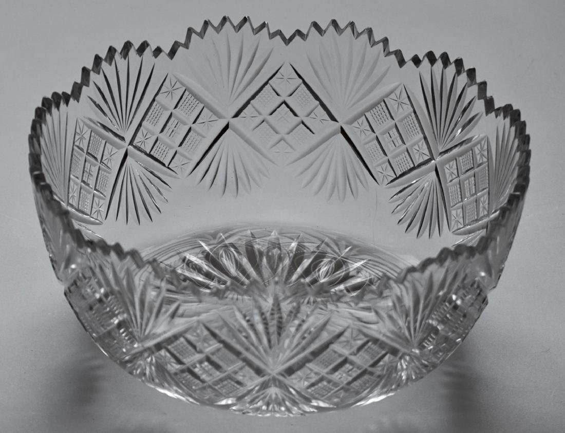 Antique Cut Glass Crystal Salad Bowl
