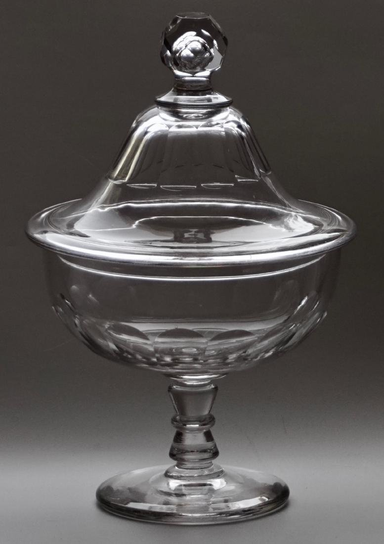 Antique Crystal Apothecary Candy Footed Bowl Petal Cut