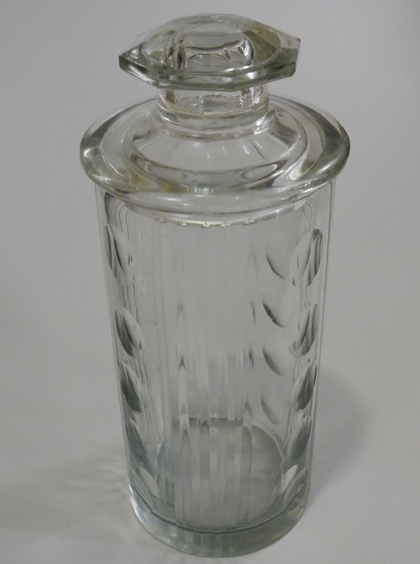 Paneled Dot Cut Glass Apothecary Jar Lidded Container