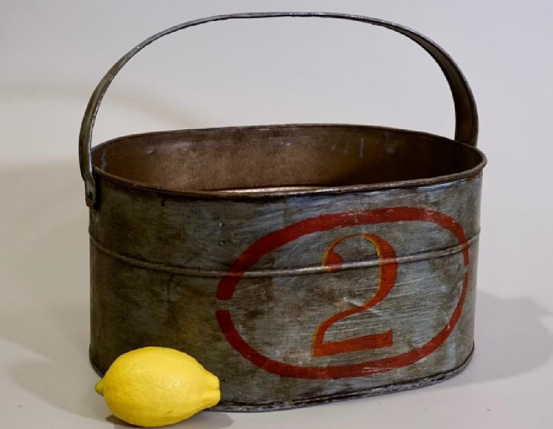 Hand Painted Numbered Oval Tin Bucket Rustic Decor