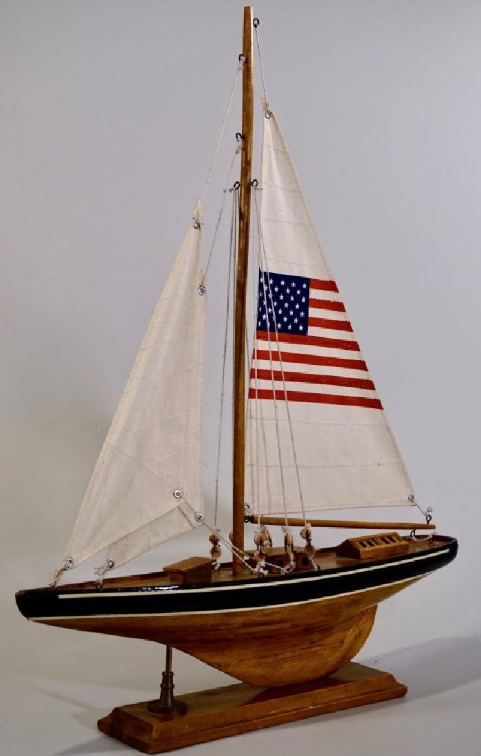 Sailboat USA Yacht Wooden Model on Display Stand