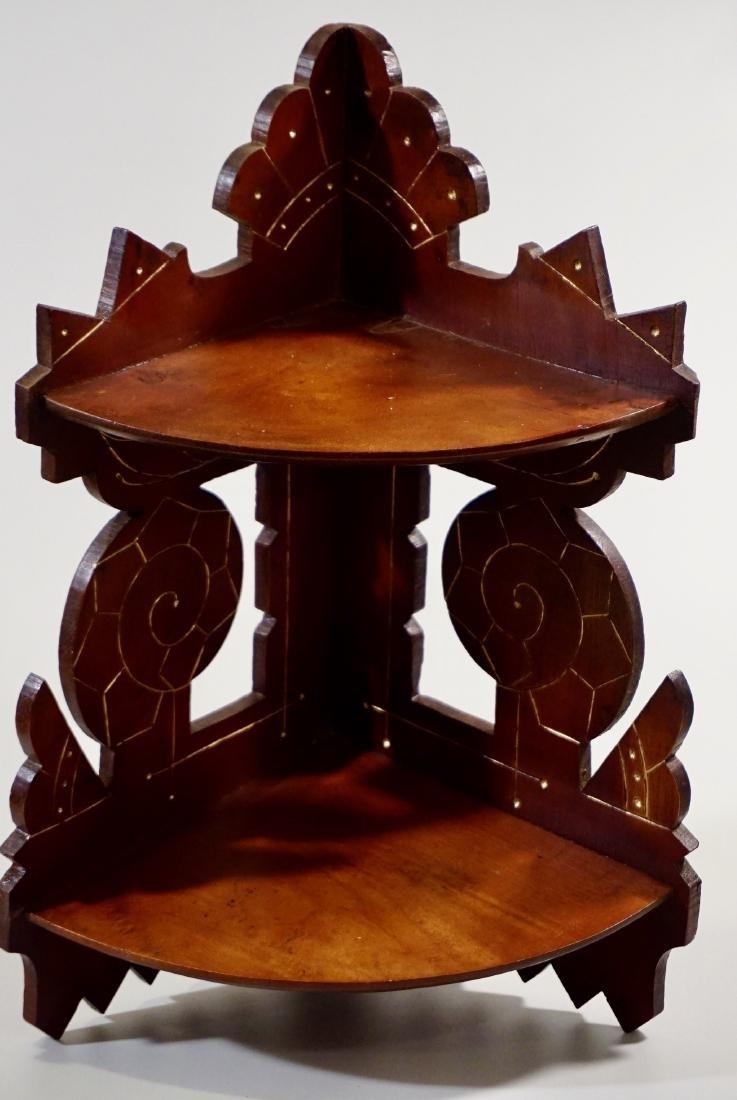 Antique Eastlake Carved Wood Corner Shelf c 1910