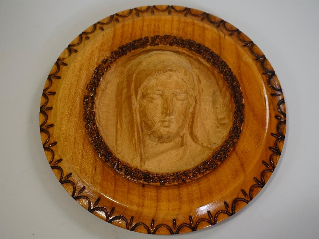 Semmering Hand Carved Wood Madonna Plaque Made in