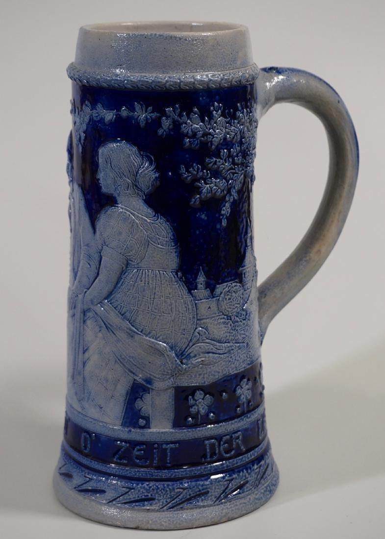 Vintage German Beer Stein Cobalt Blue Stoneware Tankard