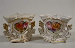 French Old Paris Porcelain Style Vase Pair Mantel Clock